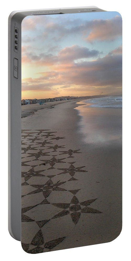 Venice Beach Portable Battery Charger featuring the photograph Patterns On Venice Beach by Art Block Collections