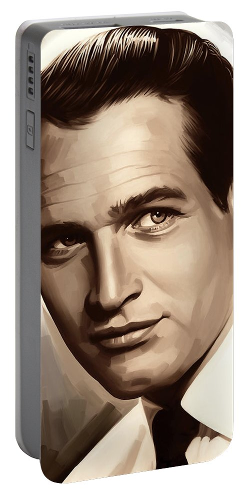 Paul Newman Paintings Portable Battery Charger featuring the painting Paul Newman Artwork 1 by Sheraz A