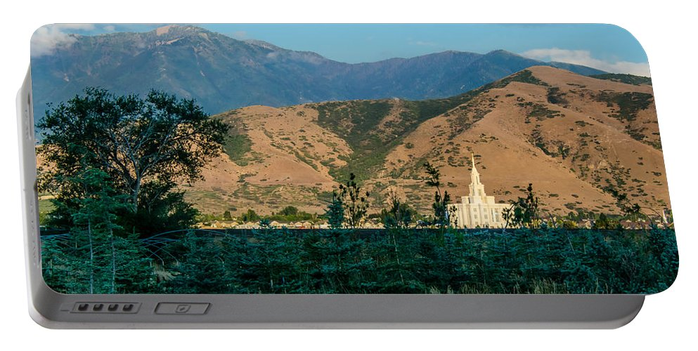 Lds Temples Portable Battery Charger featuring the photograph Payson Temple Mountains by La Rae Roberts