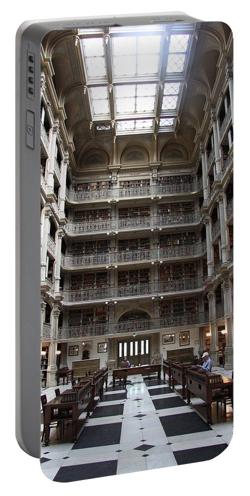 Library Portable Battery Charger featuring the photograph Peabody Library Baltimore by Christiane Schulze Art And Photography