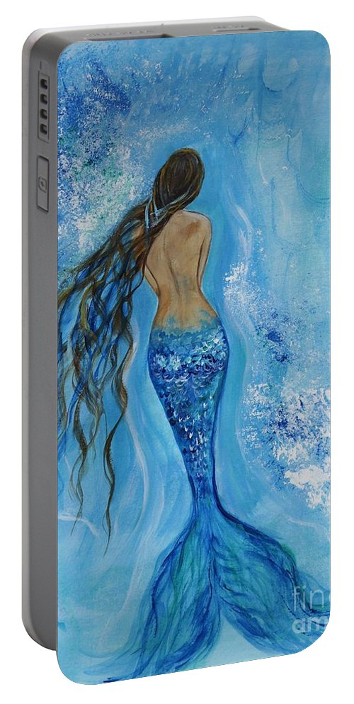Mermaid Paintings Portable Battery Charger featuring the painting Peace Beneath by Leslie Allen