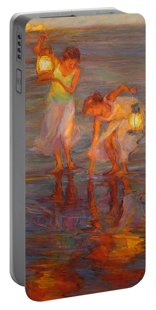 Beach Portable Battery Charger featuring the painting Peace by Diane Leonard