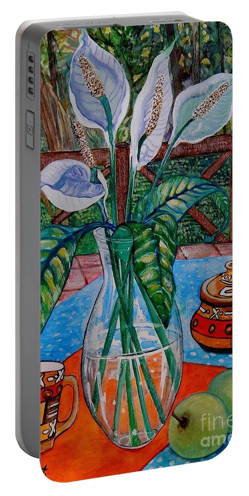 Flowers Portable Battery Charger featuring the painting Peace Lilies On The Patio by Caroline Street