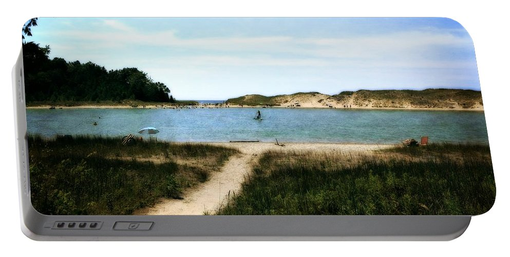 Sleeping Bear Dunes Portable Battery Charger featuring the photograph Peaceful Day At North Bar Lake by Michelle Calkins
