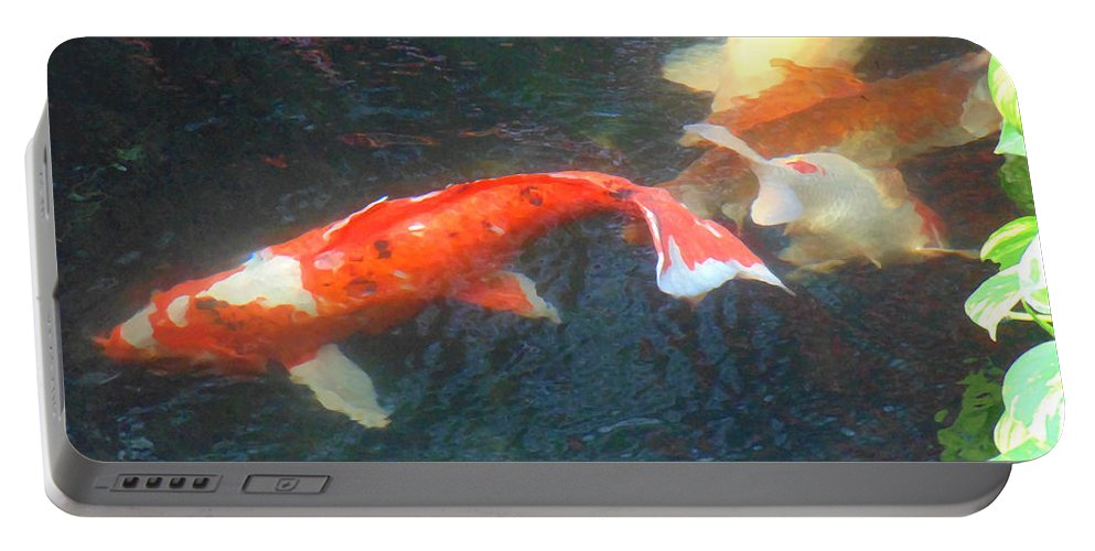 Koi Portable Battery Charger featuring the photograph Peaceful by Marcello Cicchini