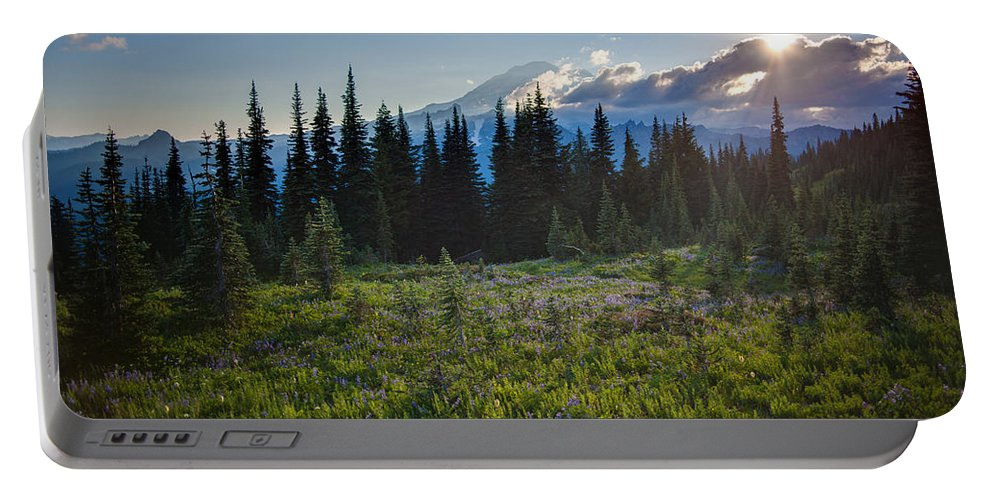 Rainier Portable Battery Charger featuring the photograph Peaceful Mountain Flowers by Mike Reid