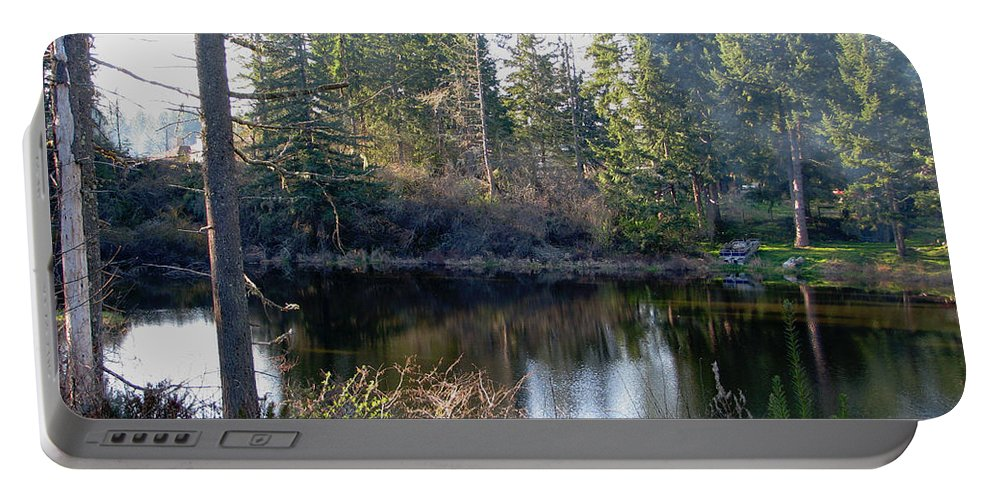 Pond Portable Battery Charger featuring the photograph Peaceful Pond by Rory Sagner