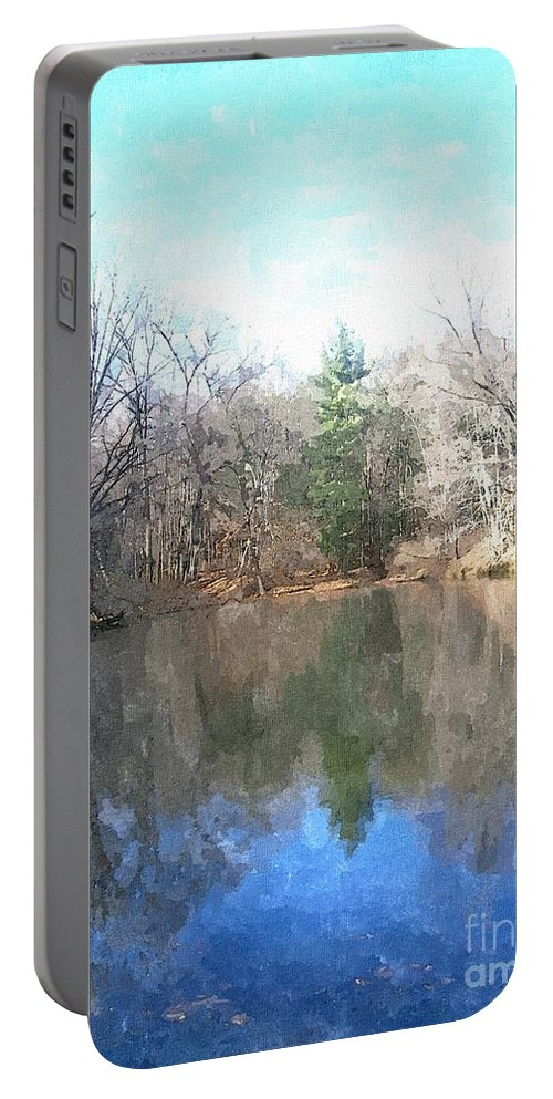 Pond Portable Battery Charger featuring the painting Peaceful Retreat 2 by Sara Raber
