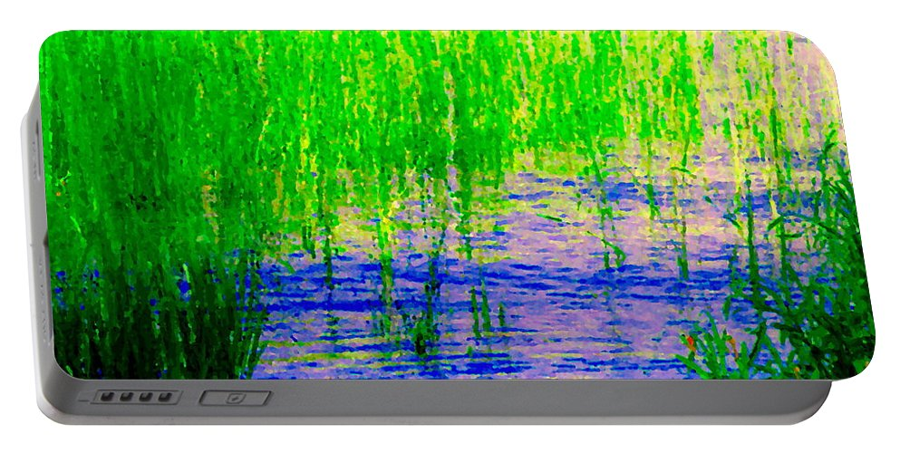 Montreal Portable Battery Charger featuring the painting Peaceful Stream Quebec Landscape Art Tall Grasses At The Lakeshore Waterscene Carole Spandau by Carole Spandau