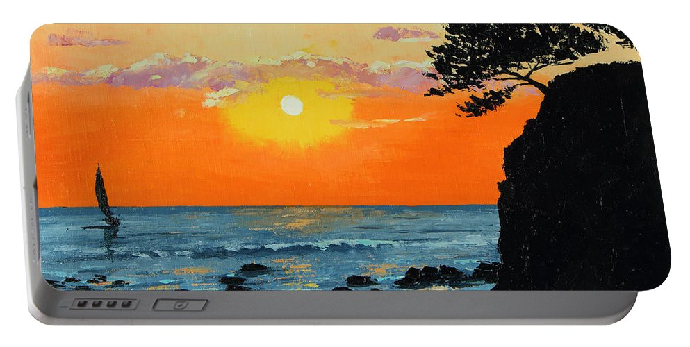 Jean-marc Janiaczyk Portable Battery Charger featuring the painting Peaceful Sunset by MGL Meiklejohn Graphics Licensing