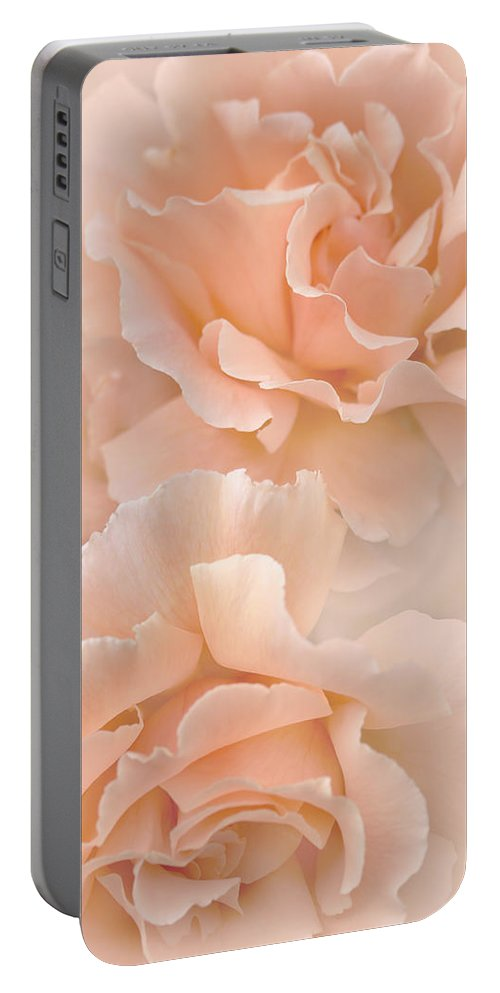 Rose Portable Battery Charger featuring the photograph Peach Rose Flowers Bouquet by Jennie Marie Schell