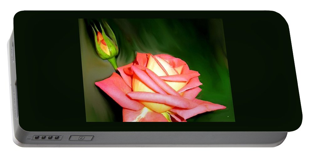 Peach Rose Watercolor Portable Battery Charger featuring the digital art Peach Rose Watercolor by Will Borden