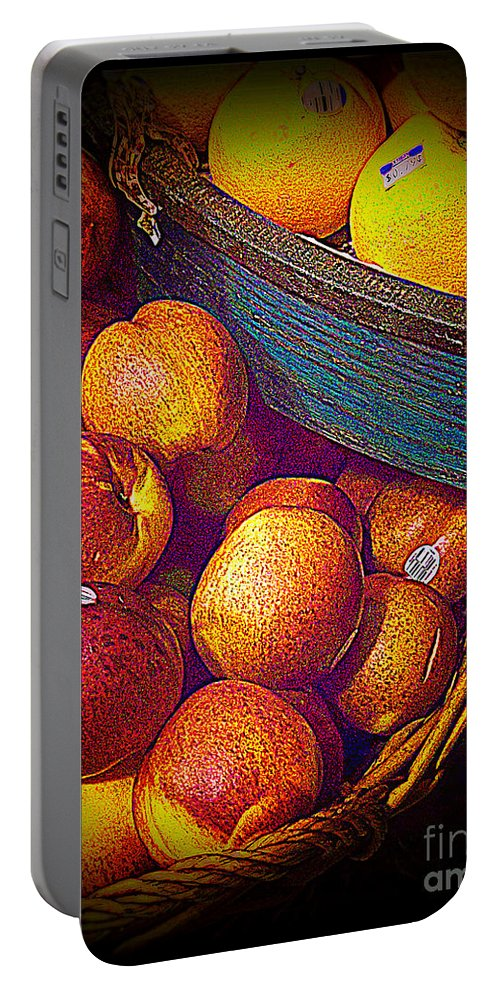 Fruit Portable Battery Charger featuring the photograph Peaches And Citrus With Blue Wooden Basket by Miriam Danar