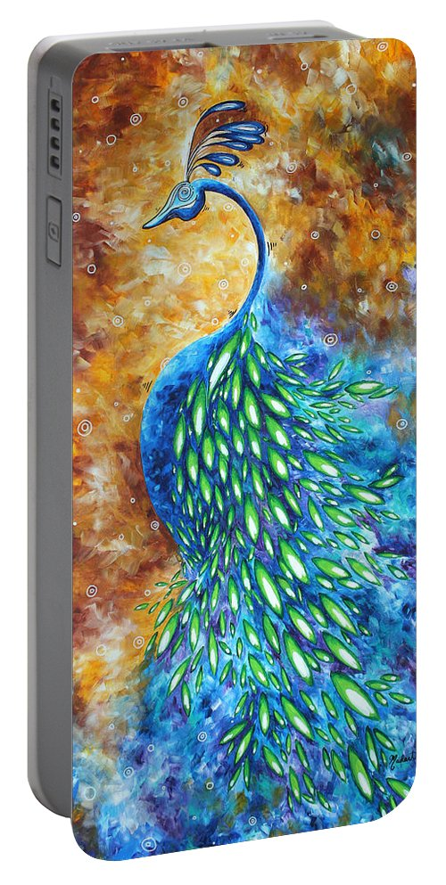 Peacock Portable Battery Charger featuring the painting Peacock Abstract Bird Original Painting In Bloom By Madart by Megan Duncanson