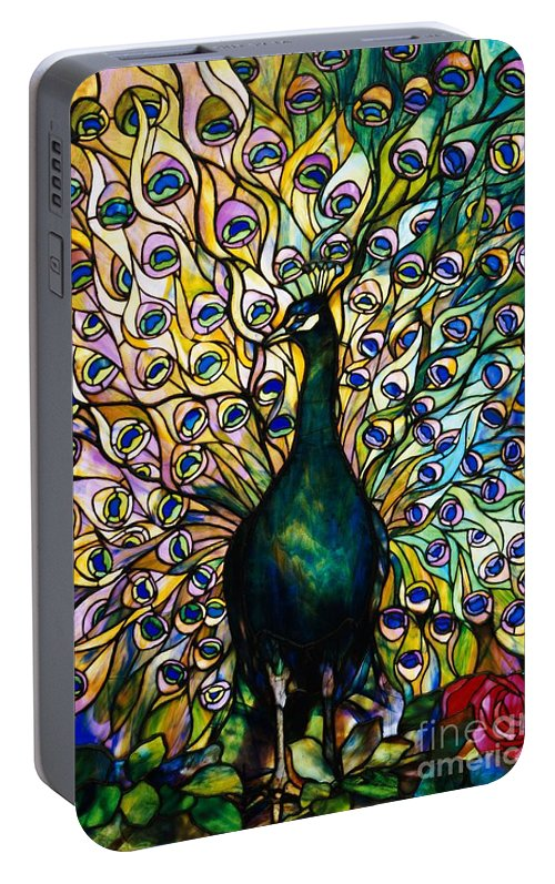 Peacock Portable Battery Charger featuring the photograph Peacock by American School