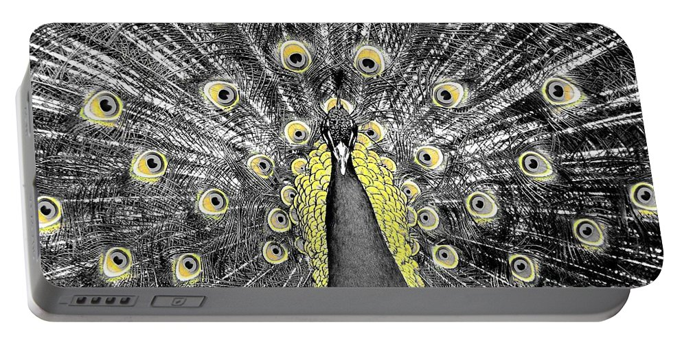 Peacock Portable Battery Charger featuring the photograph Peacock In Black And White With Selective Color by Rose Santuci-Sofranko
