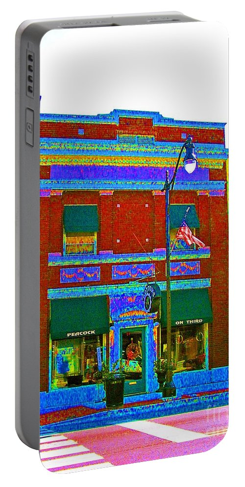 Computer Graphics Portable Battery Charger featuring the photograph Peacock On Third Color Variation by Marian Bell