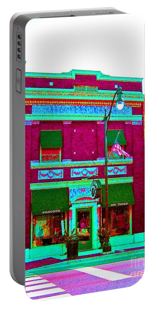 Computer Graphics Portable Battery Charger featuring the photograph Peacock On Third Through Rose Colored Glasses by Marian Bell
