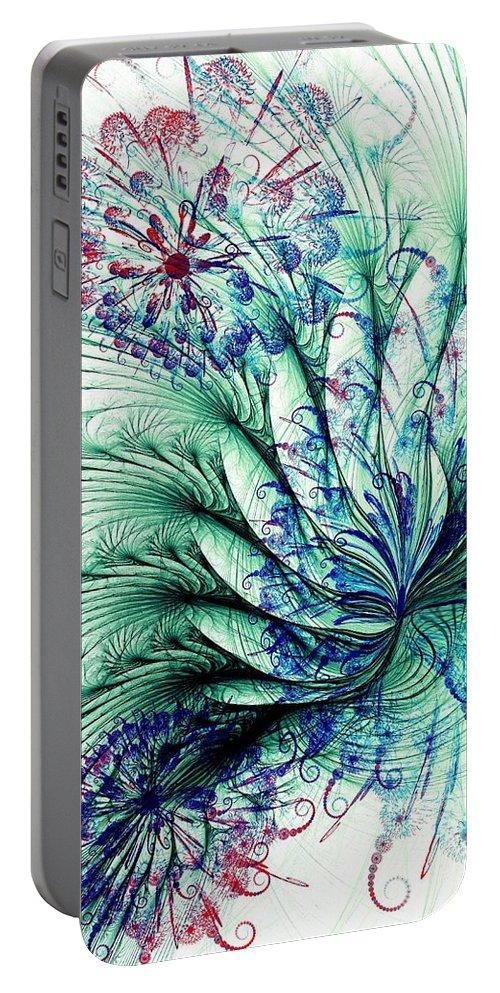 Malakhova Portable Battery Charger featuring the digital art Peacock Tail by Anastasiya Malakhova