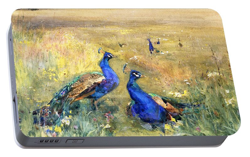 Peacock Portable Battery Charger featuring the painting Peacocks In A Field by Mildred Anne Butler