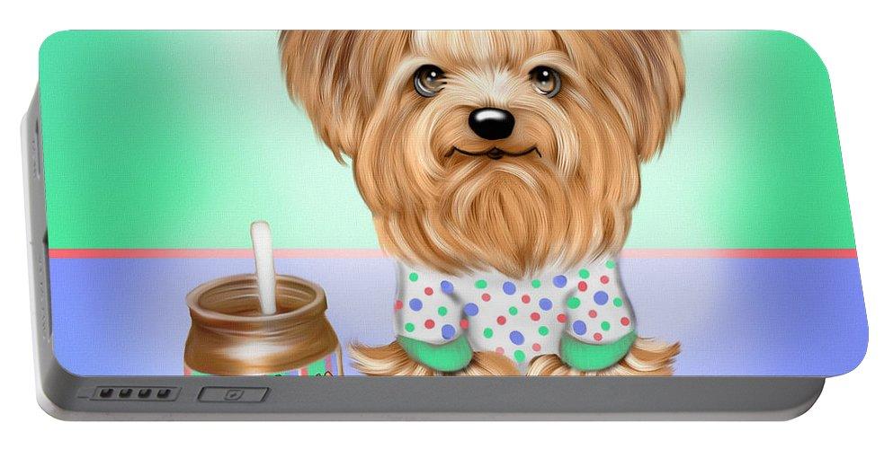 Yorkie Portable Battery Charger featuring the painting Peanut Butter Lover by Catia Lee
