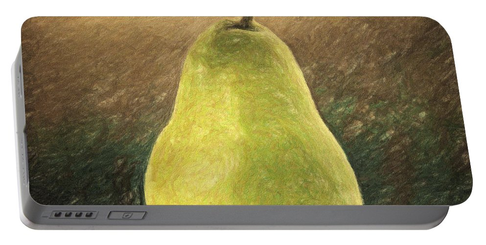 Still Life Portable Battery Charger featuring the painting Pear by Zapista