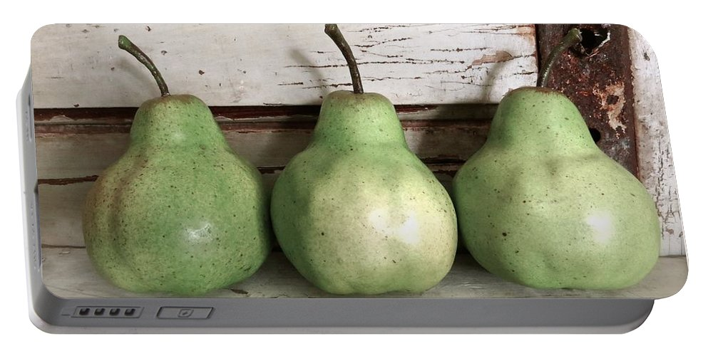 Kitchen Art Portable Battery Charger featuring the photograph Pear Trio by Angie Mahoney