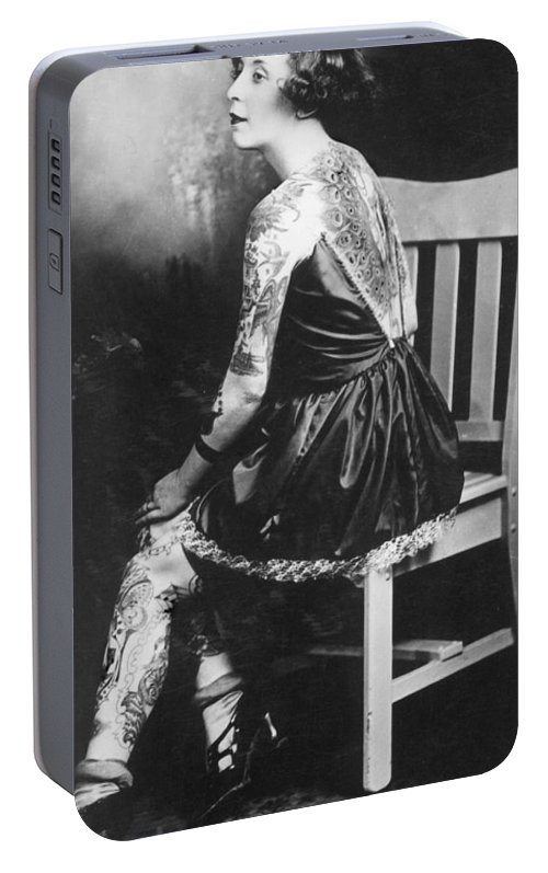 Photographs Portable Battery Charger featuring the photograph Tattoo Woman by Larry Mora