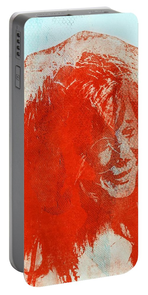 Janis Joplin Portable Battery Charger featuring the mixed media Pearl Of A Girl by Molly Picklesimer