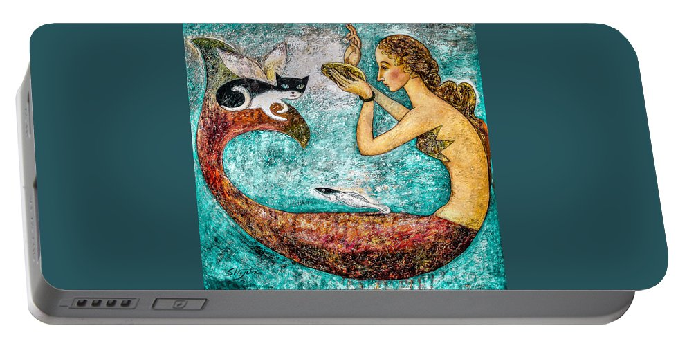 Mermaid Art Portable Battery Charger featuring the painting Pearl by Shijun Munns