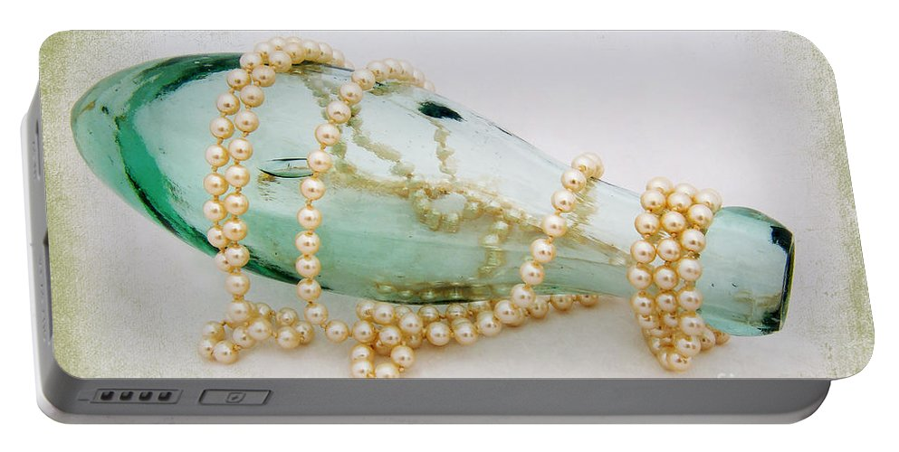 Bottle Portable Battery Charger featuring the photograph Pearls And Old Glass by Susie Peek