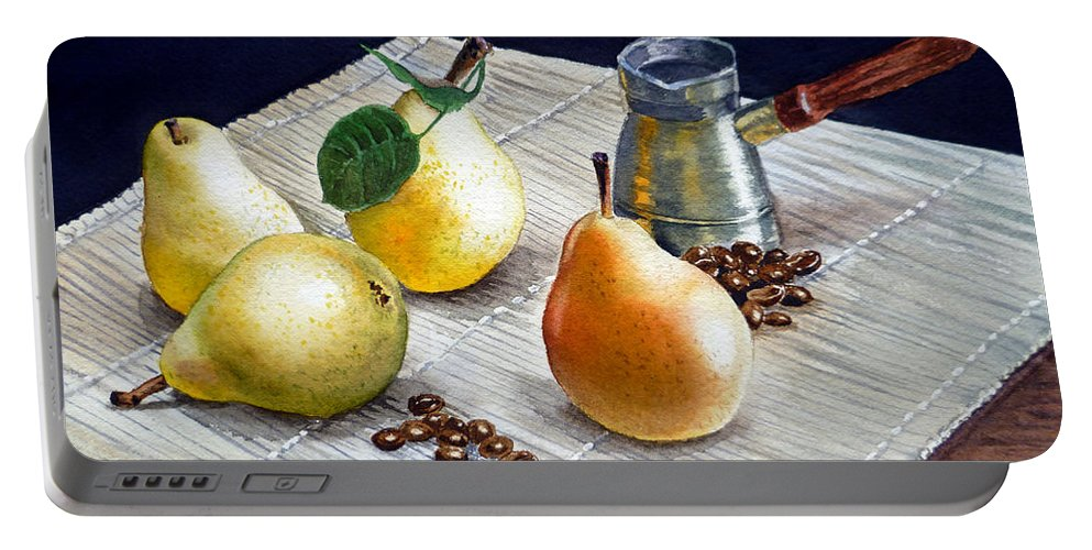Pears Portable Battery Charger featuring the painting Pears by Irina Sztukowski