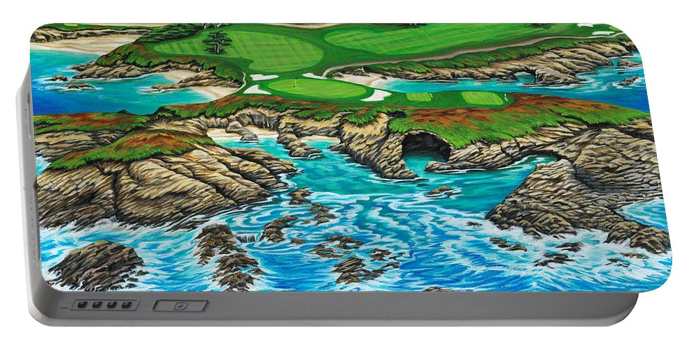 Ocean Portable Battery Charger featuring the painting Pebble Beach 15th Hole-north by Jane Girardot
