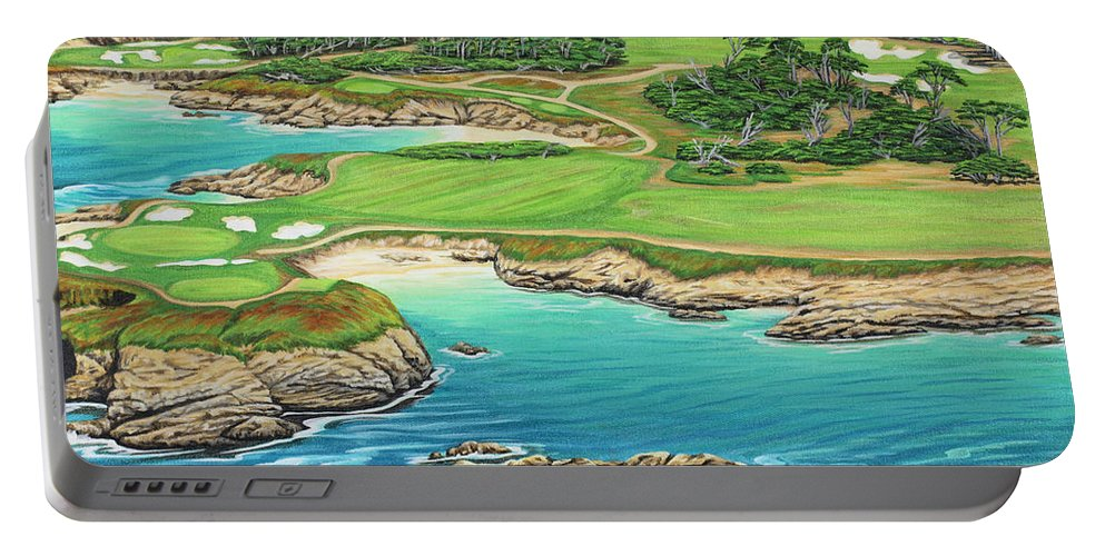 Ocean Portable Battery Charger featuring the painting Pebble Beach 15th Hole-South by Jane Girardot