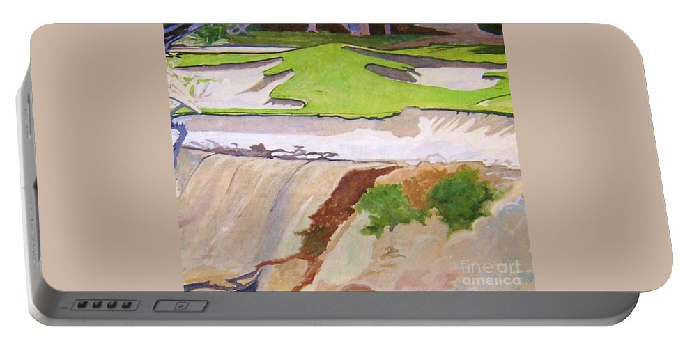Pebble Beach Golf Course Is A Magical Place. To Walk Portable Battery Charger featuring the painting Pebble Beach Sand by Rebecca Lou Mudd