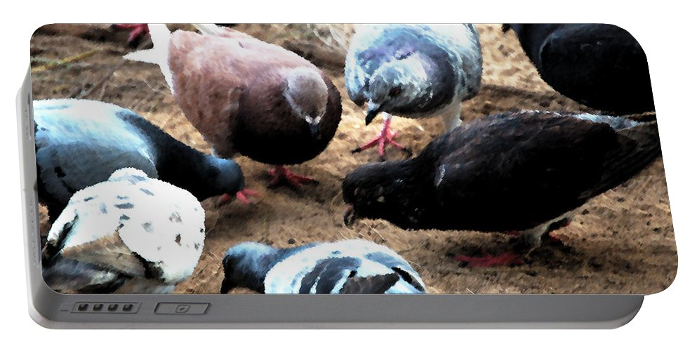 Dove Portable Battery Charger featuring the photograph Pecking Order by Flamingo Graphix John Ellis