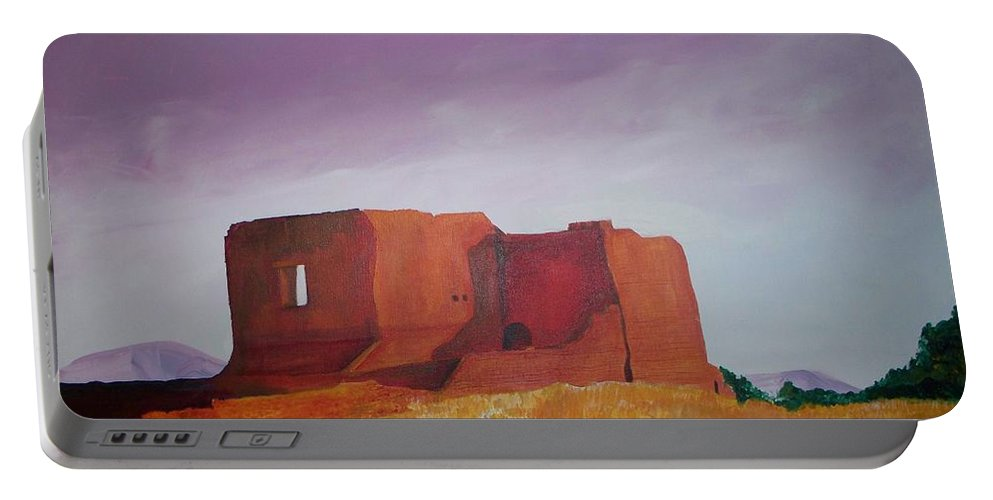 Western Portable Battery Charger featuring the painting Pecos Mission Landscape by Eric Schiabor