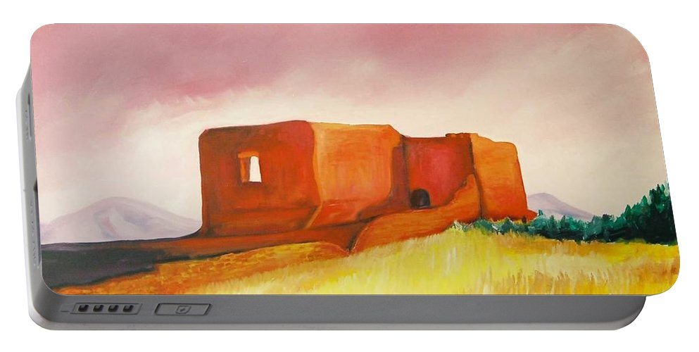 Western Landscapes Portable Battery Charger featuring the painting Pecos Mission Nm by Eric Schiabor
