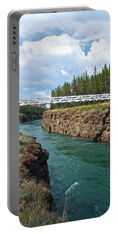 Pedestrian Bridge Over Yukon River Portable Battery Charger featuring the photograph Pedestrian Bridge Over Yukon River In Miles Canyon Near Whitehorse-yk by Ruth Hager
