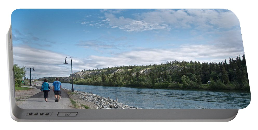Pedestrian Walkway Along Yukon River Portable Battery Charger featuring the photograph Pedestrian Walkway Along Yukon River In Whitehorse-yk by Ruth Hager