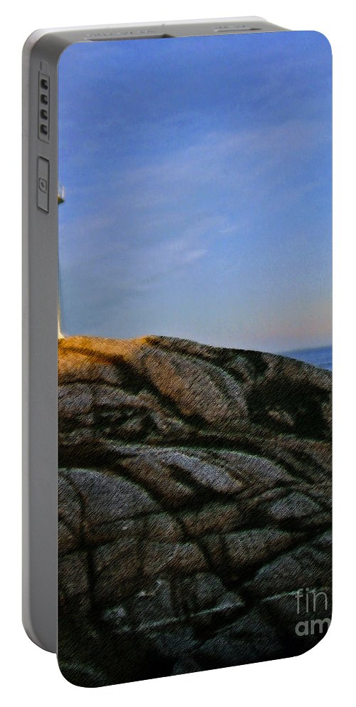 Peggy's Cove Portable Battery Charger featuring the photograph Peggy's Cove Lighthouse by Lydia Holly