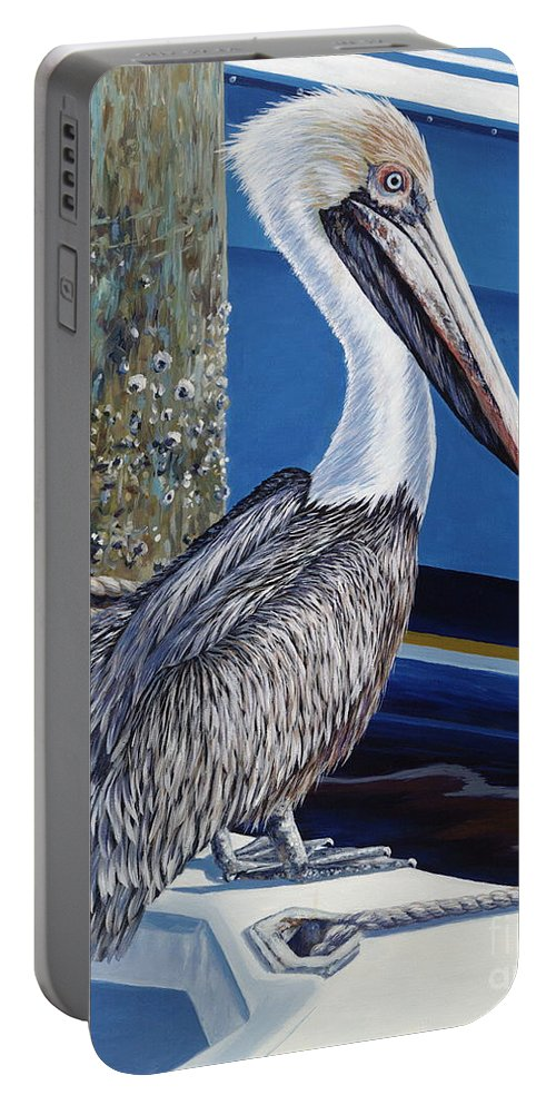 Pelican Portable Battery Charger featuring the painting Pelican Blues by Danielle Perry