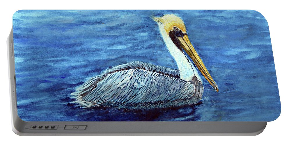 Brown Pelican Portable Battery Charger featuring the painting Pelican by Loretta Luglio