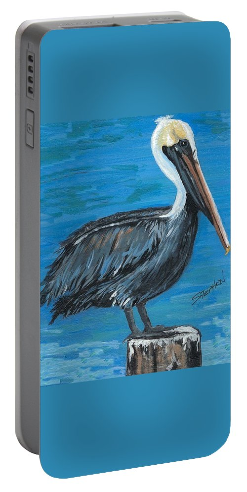 Louisiana Portable Battery Charger featuring the painting Pelican On Post by Stephen Broussard