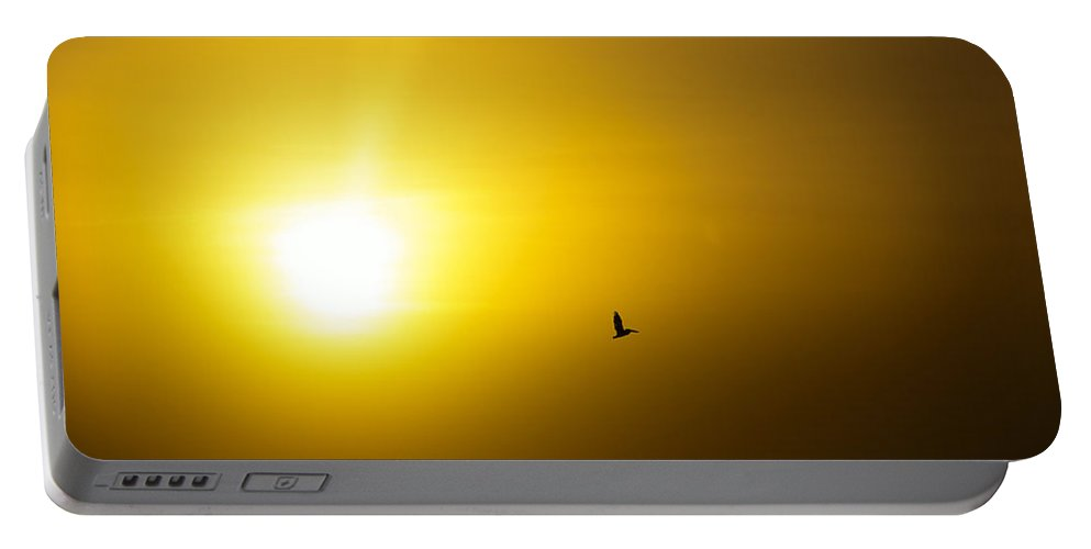 Sunrise Portable Battery Charger featuring the photograph Pelican Silhouette by Jess Kraft