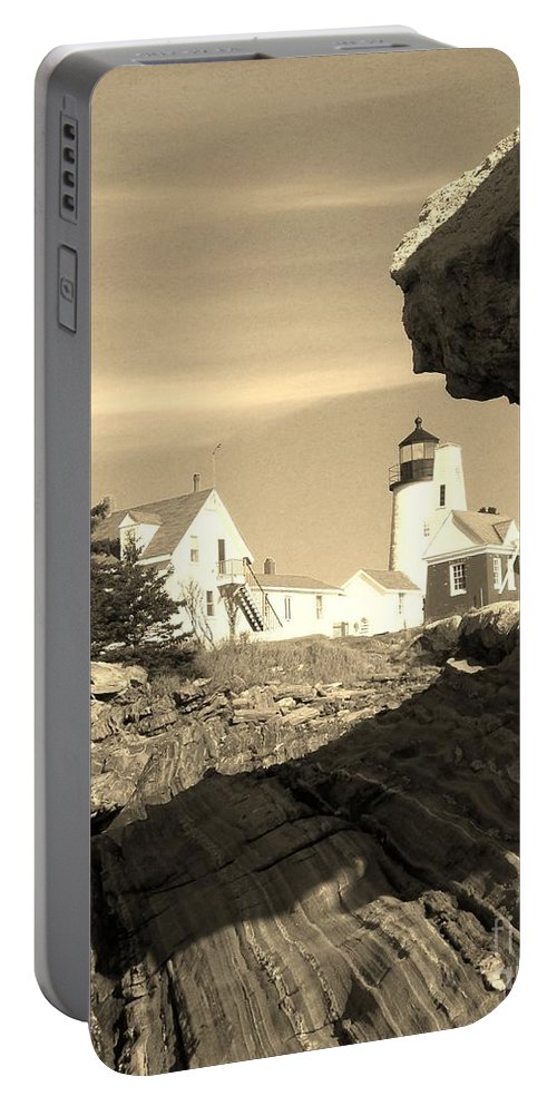 Pemaquid Point Portable Battery Charger featuring the photograph Pemaquid Point Sepia by Joseph Marquis