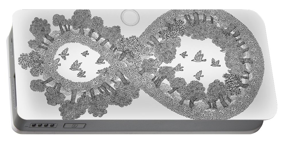Black And White Portable Battery Charger featuring the drawing Pen And Ink Mandala 3 by Karma Moffett