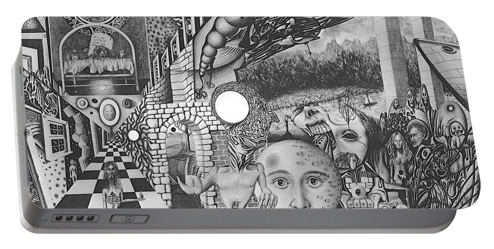 Meditation Portable Battery Charger featuring the drawing Pen And Ink World 1 by Karma Moffett