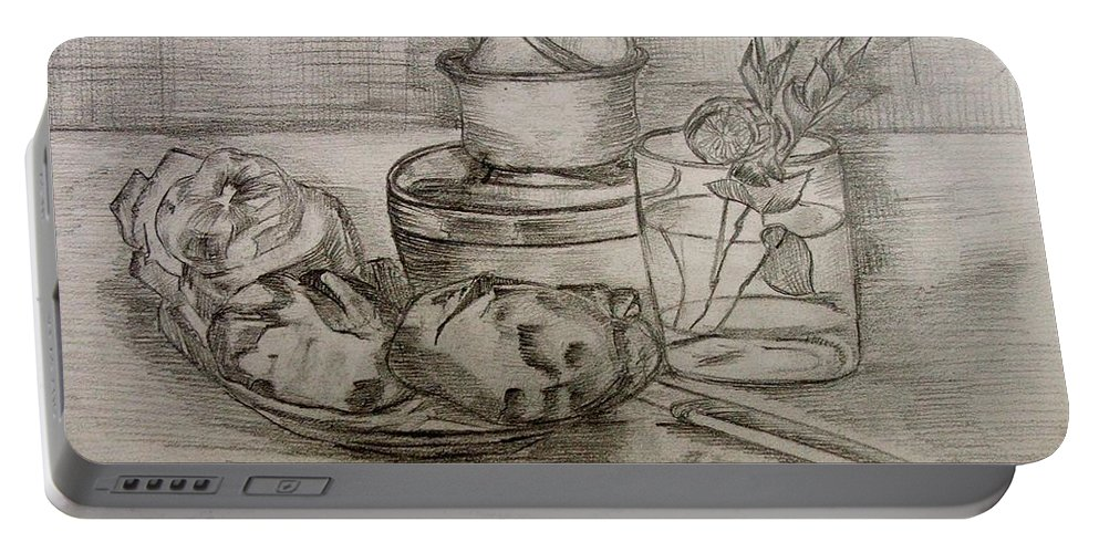 Still-life Portable Battery Charger featuring the painting Pencil Still-life. by Caroline Street