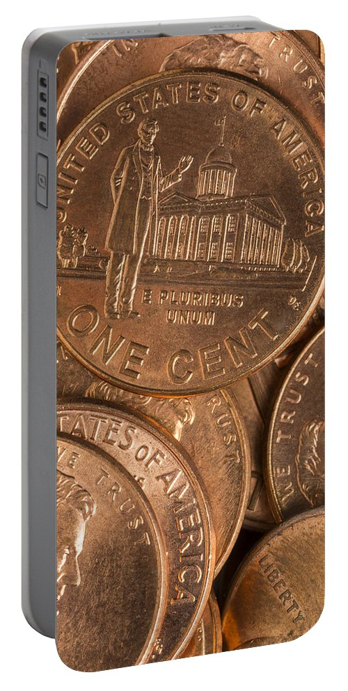 Penny Portable Battery Charger featuring the photograph Pennies 8 by John Brueske